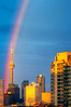 An amazing, spring-shower, double-rainbow, knock-me-down gorgeous sunrise over Toronto. Shot 28 May, 2013.