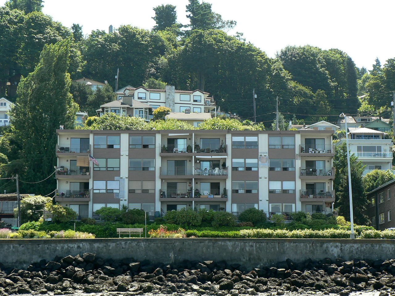 Alki Bonair Condo.  Right middle, second from bottm is #202