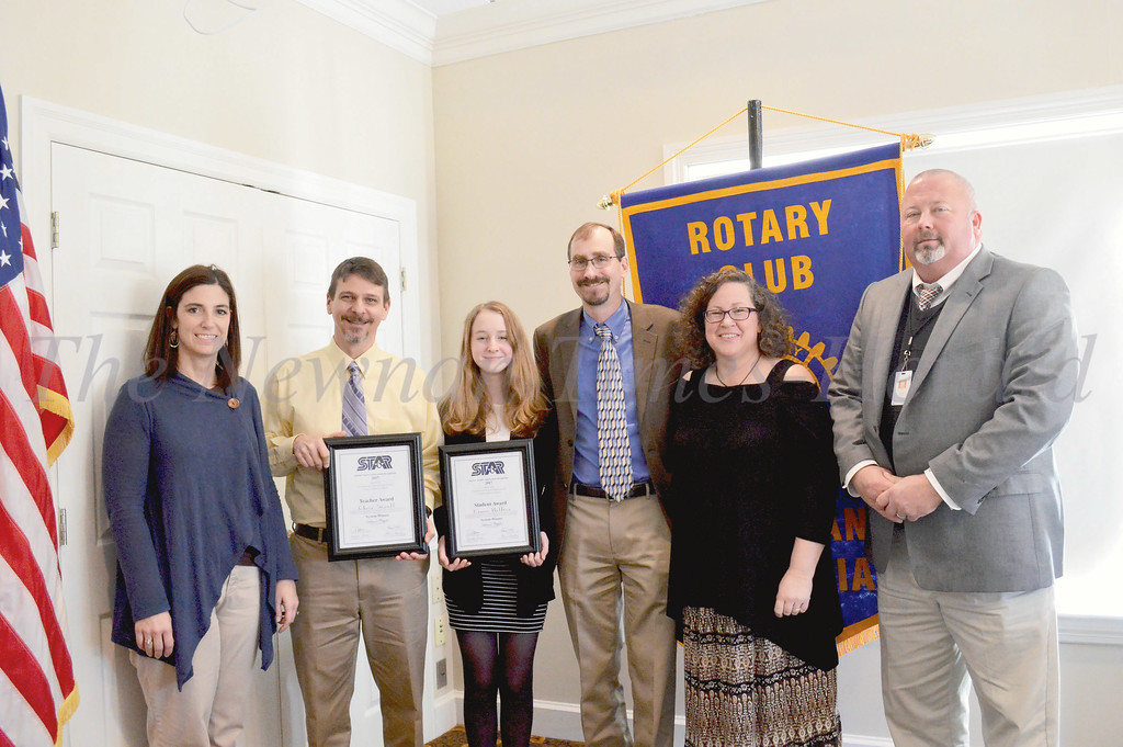 East Coweta High School's contingent at the STAR student luncheon included, left to right: counselor Wendy Williams, STAR Teacher Chris Sewell, STAR Student Emma Helfers, parents Darrin and Ellen Helfers, and Principal Steve Allen.