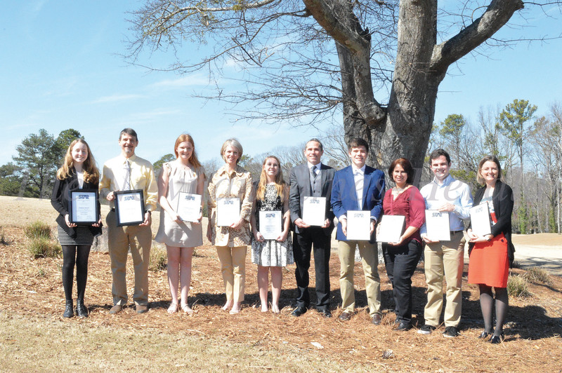 Coweta County's STAR students, with their STAR teachers are, left to right: East Coweta's Emma Helfers and Chris Sewell, The Heritage School's Harper Minor and and Brooke Martin, Newnan High School's Stephanie Cannon and Smokey Road Middle School teacher Chris Hildebrand, Northgate High School's Bo Heatherman and Liz Lotter, and Trinity Christian School's Joshua Hess and Jennifer Rinkenberger.