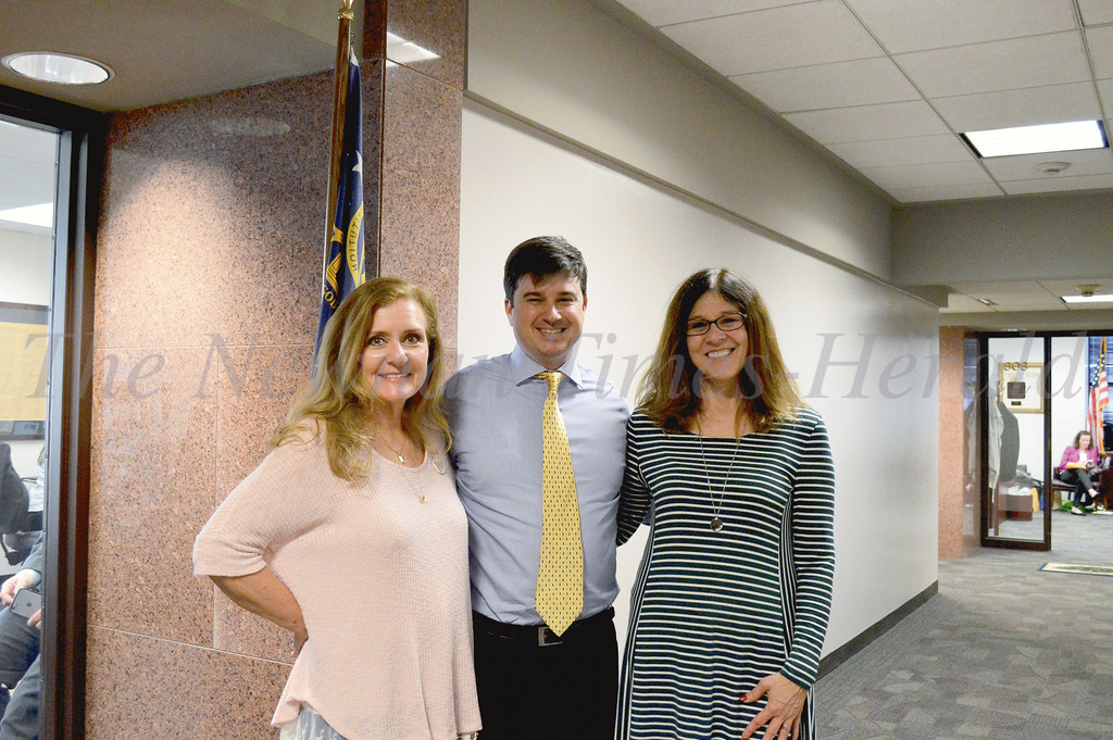 Theresa Mulvenna, left, and Christine Kendall of the Coweta Recovery Community Organization met with State Sen. Matt Brass, R-Newnan, during Addiction Recovery Awareness Day at the Georgia State Capitol. They were the first constituents to visit Brass, who took office Monday.
