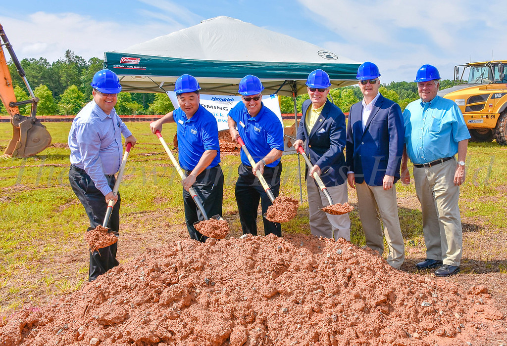 Left to right are Honda representatives Kurt Engelmann, David Kwon, John Hicks, Mayor Keith Brady, City Manager Cleatus Phillips and Councilmember Ray DuBose as they break ground on the Honda dealership on Wednesday.