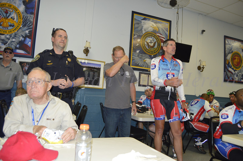 Ride 2 Recovery, a program created for veterans inspired by the healing effects of physical therapy, visited Newnan on a Challenge Ride from Atlanta, Ga. to New Orleans, La. Speaking is John Wordin, President and Founder.
