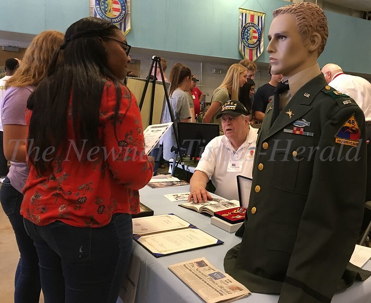 Students connecting with Veterans at Newnan High School