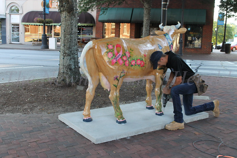 Fiberglass farm animals unveiled on the square in downtown Newnan