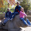 Jeane, Patti, and Cate play with the Rhino,