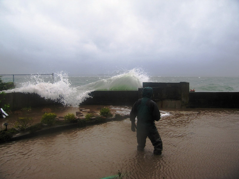 A spring 2006 storm breaching the seawall at a friends haome along Beach Drive.  They survived.
