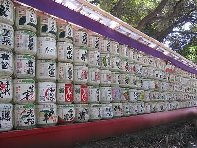 Barrels of sake donated to the Meji shrine