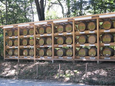 Barrels of wine donated to the Meji shrine