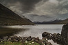 Storm clouds over Loch na h-Oidhche. On the left hand side Beinn an Eoin. If I remember correctly we were hit by a hail storm shortly after this shot.