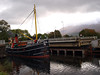 Clyde Puffer VIC32 coming down the Caledonian Canal passes through the A830 Swing Bridge at Banavie
