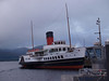 """Paddle Steamer """"Maid of the Loch"""", Balloch Pier, Loch Lomond.<br /> <br /> Built 1953 by A.J. Inglis, Pointhouse and launched at Balloch Pier on 5th March."""