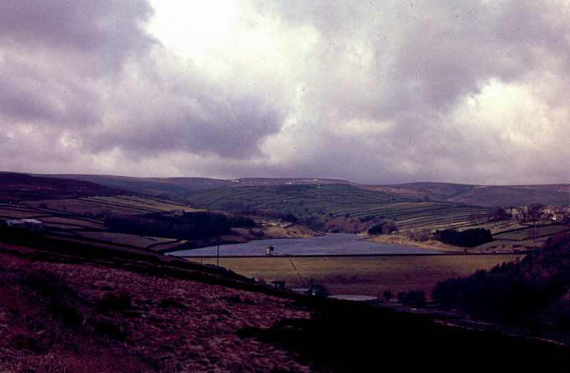 Lower Laithe Reservoir at Stanbury viewed from Penistone Hill.