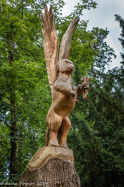 Wood Sculpture in the grounds of Beaulieu near to the monorail.
