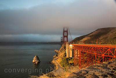 Golden Gate Bridge at sunrise.