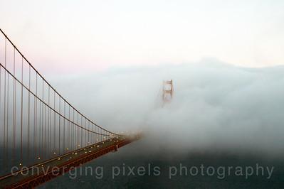Golden Gate Bridge in fog.