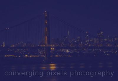 "Golden Gate Bridge; "" city lights #3 "" taken from the Marin Headlines near Pt. Bonitas."