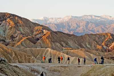 Photographers at Zabriskie Pt. during sunrise.