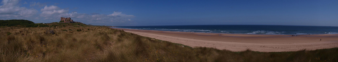 The beach and Castle at Bamburgh, Northumberland.