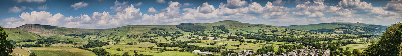 View from Peveril Castle, Castleton, Derbyshire. From left to right the hills are: Mam Tor, Hollins Cross, Back Tor and  Lose Hill. (13 frames)