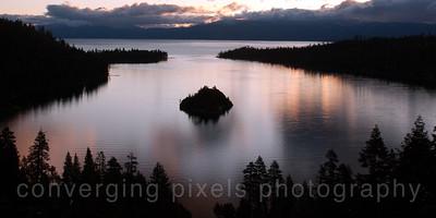 Sunrise at Emerald Bay, Lake Tahoe.