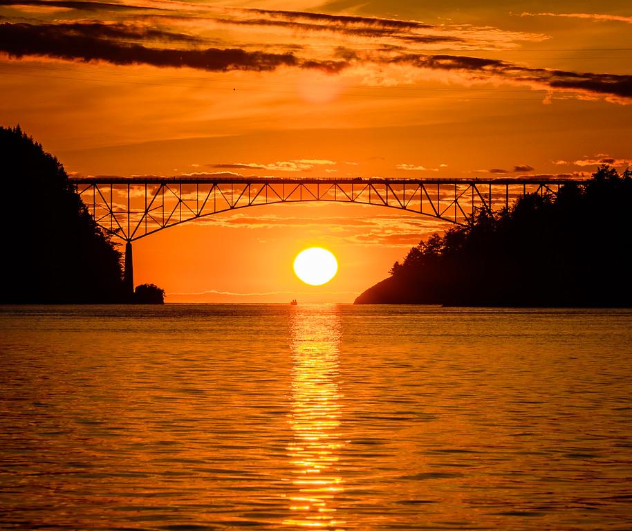 Deception Pass Bridge Sunset at Equinox
