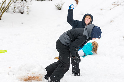 Henry throwing snowball at Ben