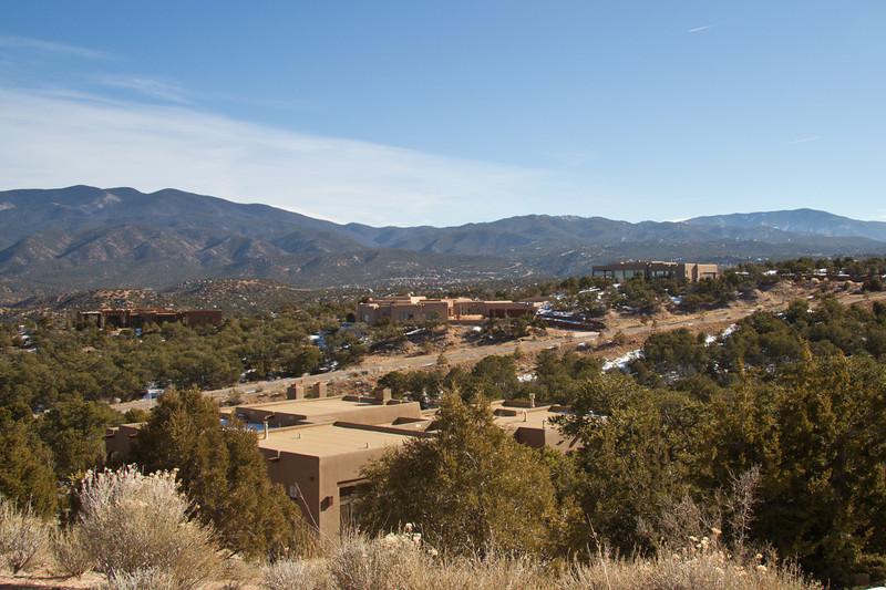 Neighborhoods of adobe houses around Santa Fe, New Mexico. December 2013.
