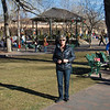 Debbie in the town square in downtown Santa Fe, New Mexico. December 2013.