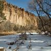 Frijoles Creek runs through Frijoles Canyon and eventually joins the Rio Grande River. Bandelier National Monument, New Mexico. December 2013.