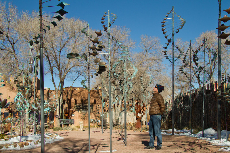 Steve checking out the whirly-birds at a gallery along Canyon road near downtown Santa Fe, New Mexico. December 2013.