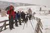 Steve and our group at the Lower Terraces, Mammoth Hot Springs. <br /> Yellowstone National Park. January 26, 2014.
