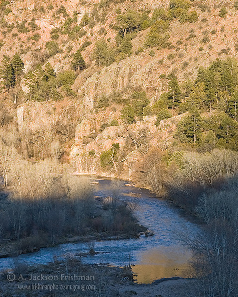 Evening light on the river, Gila Wilderness, New Mexico, March 2010.