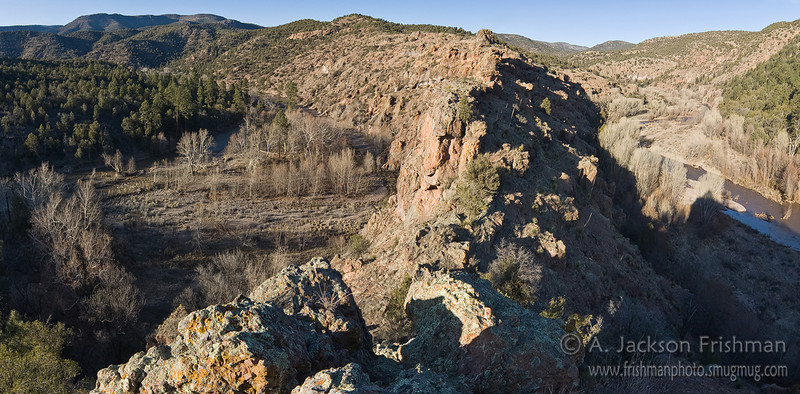 Panorama of the canyon gooseneck at Sapillo Creek, Gila Wilderness, New Mexico, March 2010.
