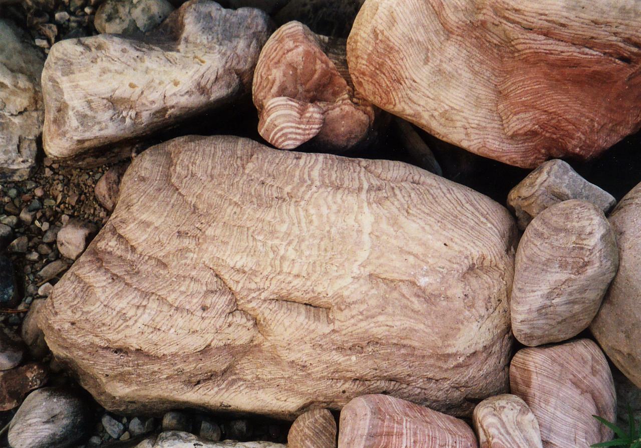 Pinstriped boulders on Utah's Uintah River.