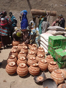 171_Djenne Old Town  Bustling Monday Market  Potteries for Sale