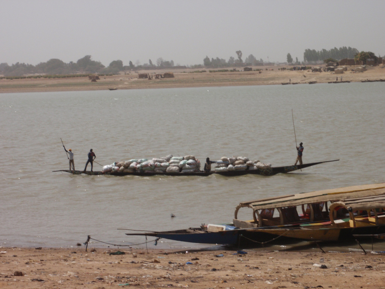 347_Niger River  Pirogue Carrying a Variety of Goods