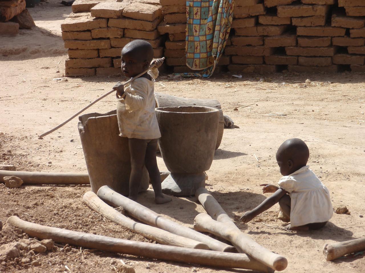 235_Parandougou   A Bobo Tribe Village  Kids Playing