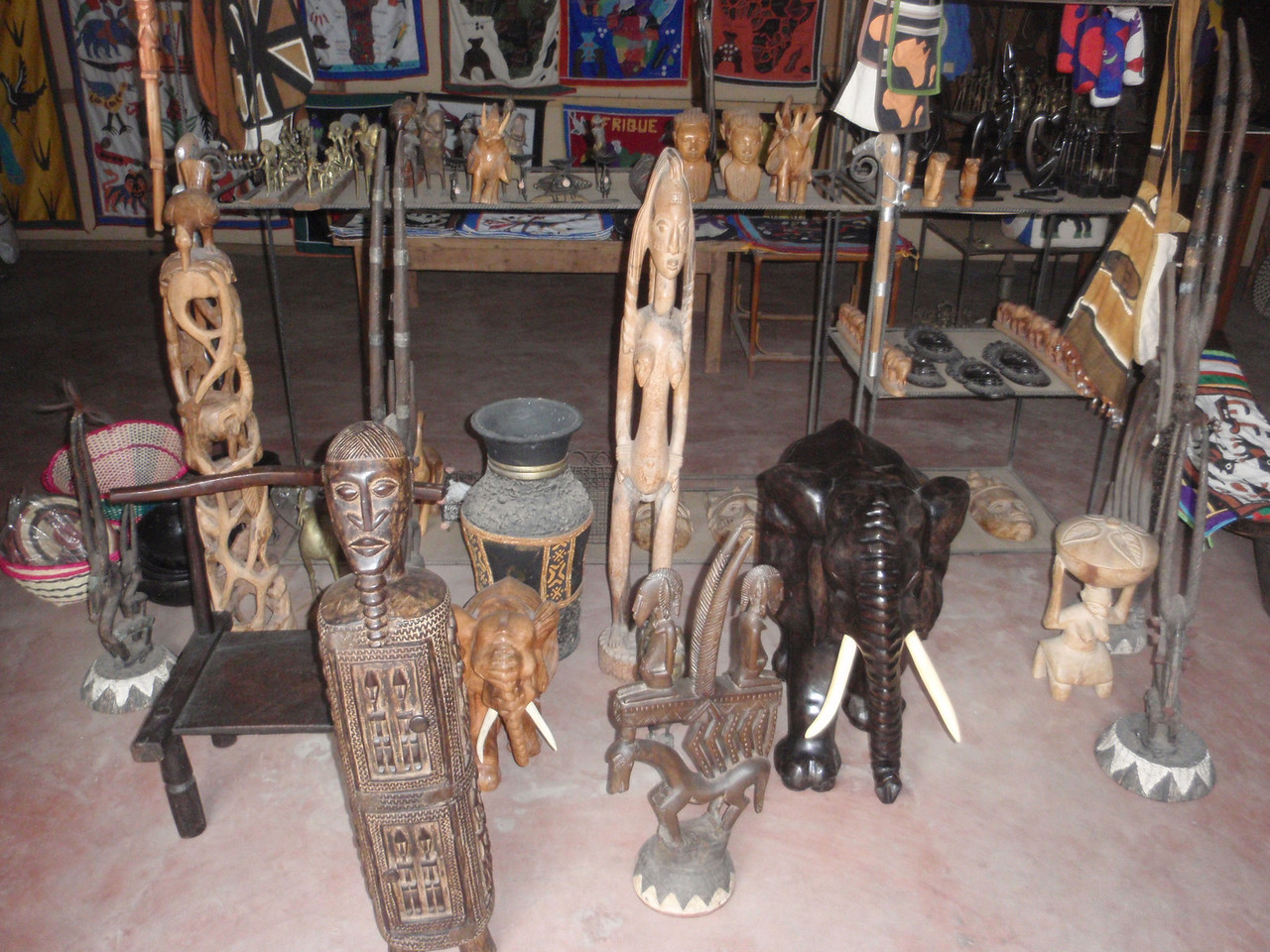 148_Cotonou  Craft Market  Woodcarvings  Various Statuettes