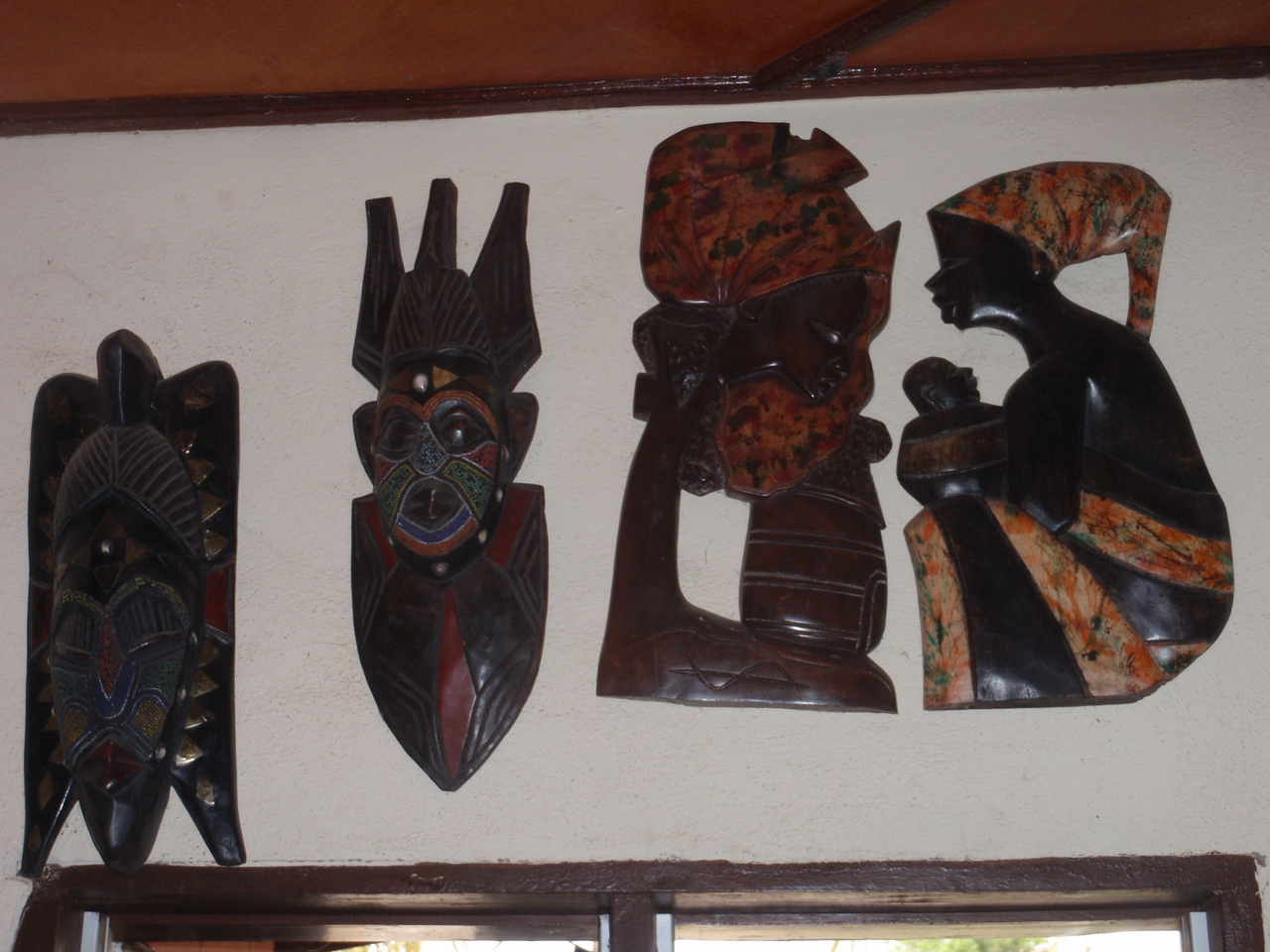158_Cotonou  The Craft Market  Woodcarvings  Masks