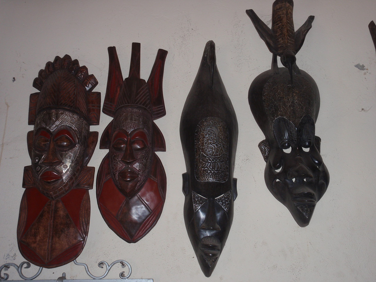 152_Cotonou  The Craft Market  Woodcarvings  Masks