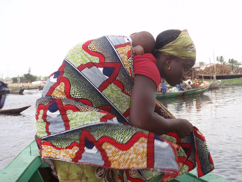 129_Ganvie Lake Community  Lake Nokoue  Mother and Bbaby