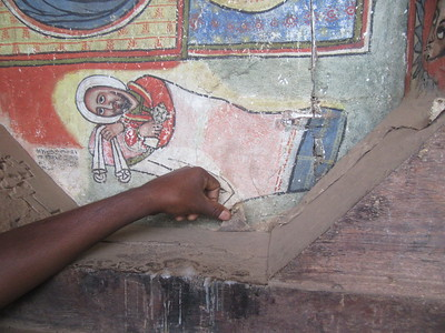 399_Ura Kidane Mehret Monastery  16th C  On Canvas, Goat Skin  Painted on floor and then glued to walls or ceiling