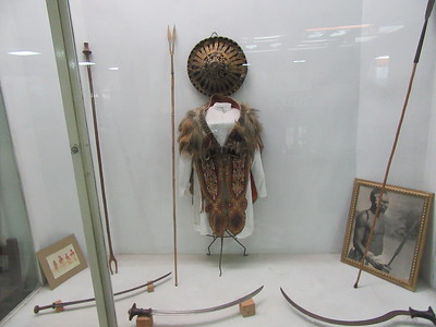 503_Addis Ababa  National Museum of Ethiopia  Hunting Weapons and Decorated Traditional Leather Costumes  Goat skin