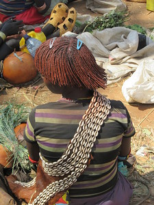 874_Key Afer  Market Day  Banna Tribe Women  Hair decorated with Ocre Red Soil and Cow Butter