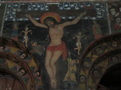 373_Debre Birhan Selassie Church  Crucifixion  On Canvas, Goat Skin  Painted on floor and then glued to walls or ceiling