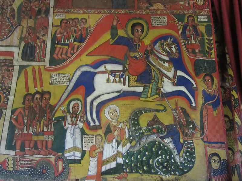 409_Zeghie Peninsula  Ura Kidane Mehret Monastery  16th C  A Martyr, St  George's killing the Dragon