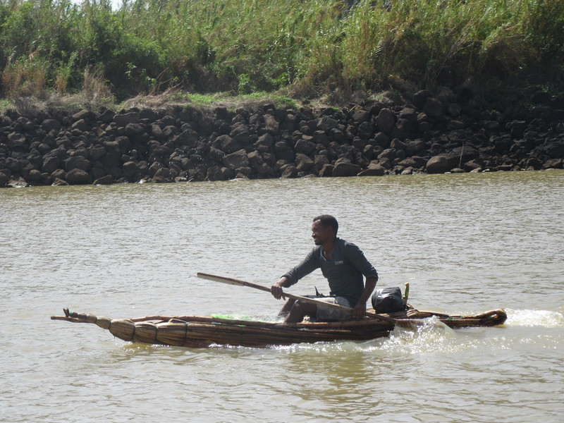 384_Lake Tana  Tankwa (small pirogue, papyrus)  Takes a day, 2 persons to build a boat  Will last a month (if no rain)