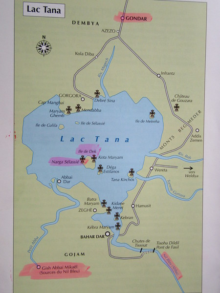 380_Bahir Dar  Metropolitan city  Bank of Lake Tana  Largest lake in Ethiopia  One one source, the Blue Nile, 65 km away