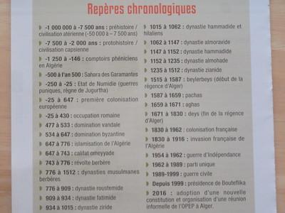 007_Algérie  Repères Chronologiques